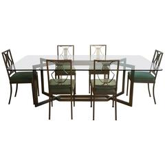 1970s French Dining Table and Set of Six Chairs