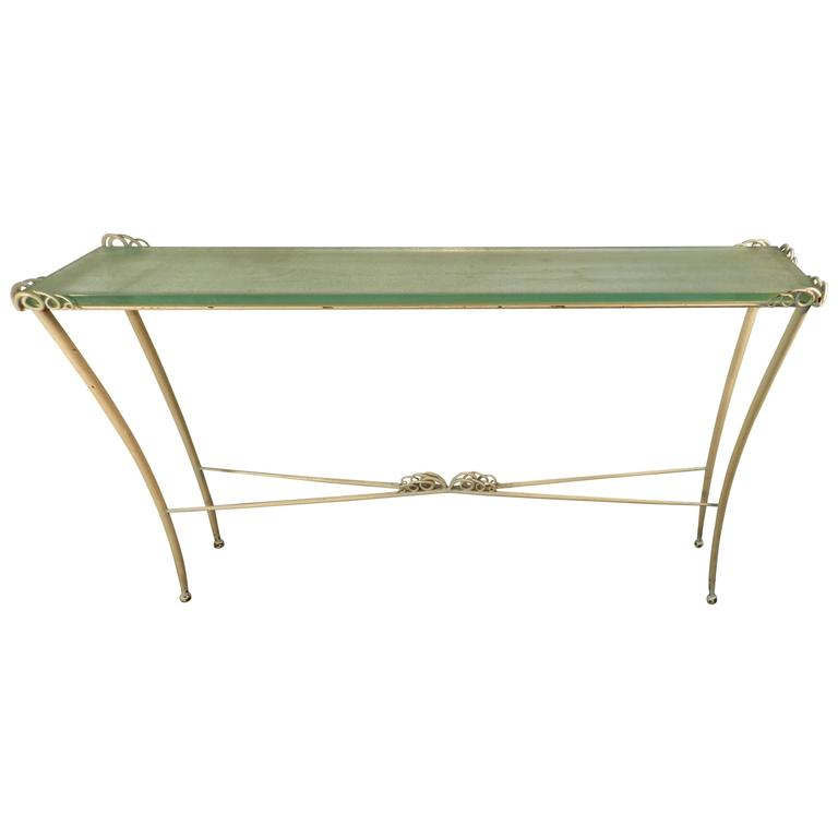 Art Deco Console Table in Lacquered Metal and Glass, 1940/1950