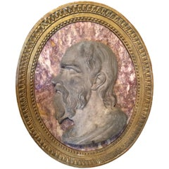 Roman Marble Relief Portrait of Seneca