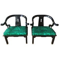 James Mont Style Malachite Lacquer Lounge Chairs by Century