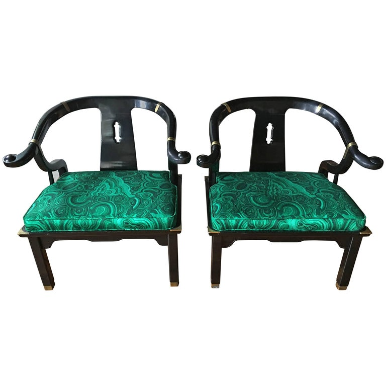 James Mont Style Malachite Lacquer Lounge Chairs by Century For Sale