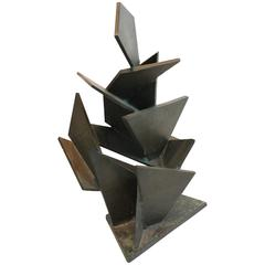 1965 Cubist Angular Bronze Modernist Sculpture