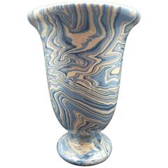 Marbleized Blue Apt Style Faience Medicis Vase by Sylvie Saint-André Perrin