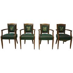 Set of Four Fine French Art Deco Bridge Chairs by Lucien Rollin