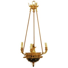 Antique Neoclassical Gilt Bronze and Green Enamel Chandelier