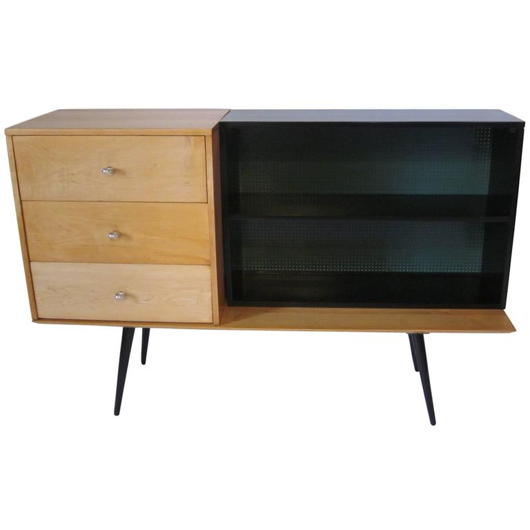 Paul Mccobb Planner Group Three Piece Cabinet And Bookcase And Bench At 1stdibs