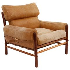 Beech Leather and Brass Lounge Chair by Arne Norell