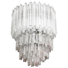 Italian Murano Venini Cascading Glass Prism Chandelier