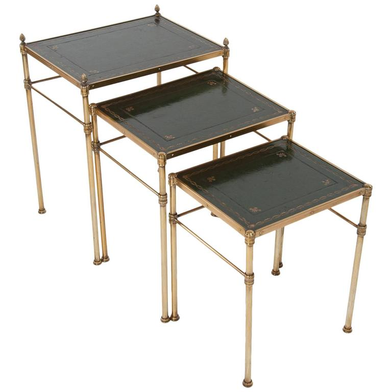 Leather Nesting Tables ~ Fine quality antique brass nest of tables leather at stdibs