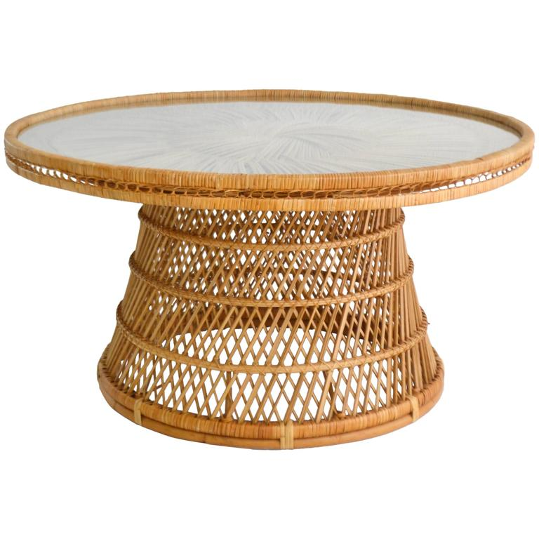 Beau Midcentury Woven Rattan Cocktail Table For Sale