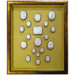 Italian Grand Tour Plaster Intaglio Collection in Gilt Wood Frame