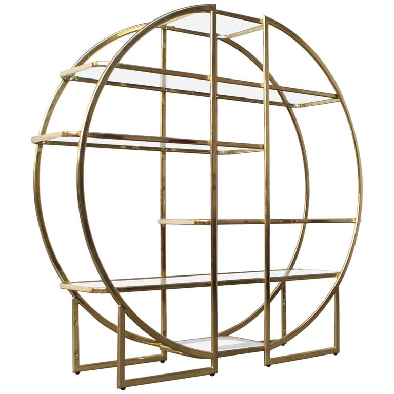 circular brass etagere with glass display shelves at 1stdibs. Black Bedroom Furniture Sets. Home Design Ideas