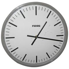 1940s Swiss Industrial Style Wall Clock by Favag