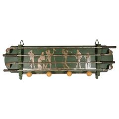 Unusual Vintage Green and Silver Painted Golfer's Wall Hanging Coat Rack