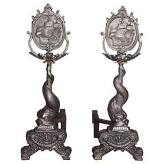 Pair of American Polished Steel & Brass Dolphin Ship Andirons, Circa 1850