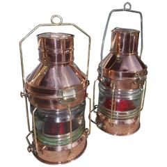Pair of English Copper and Brass Nautical Anchor Lanterns, Circa 1900