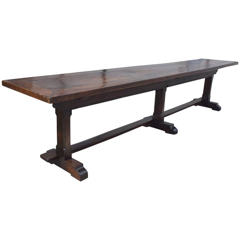 Large Italian Baroque Walnut Refectory Table, Late 17th Century And Later  For Sale