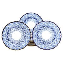 Set of 11 Doulton 19th C. Aesthetic Movement Cobalt Blue Dinner Plates w/ Poppie