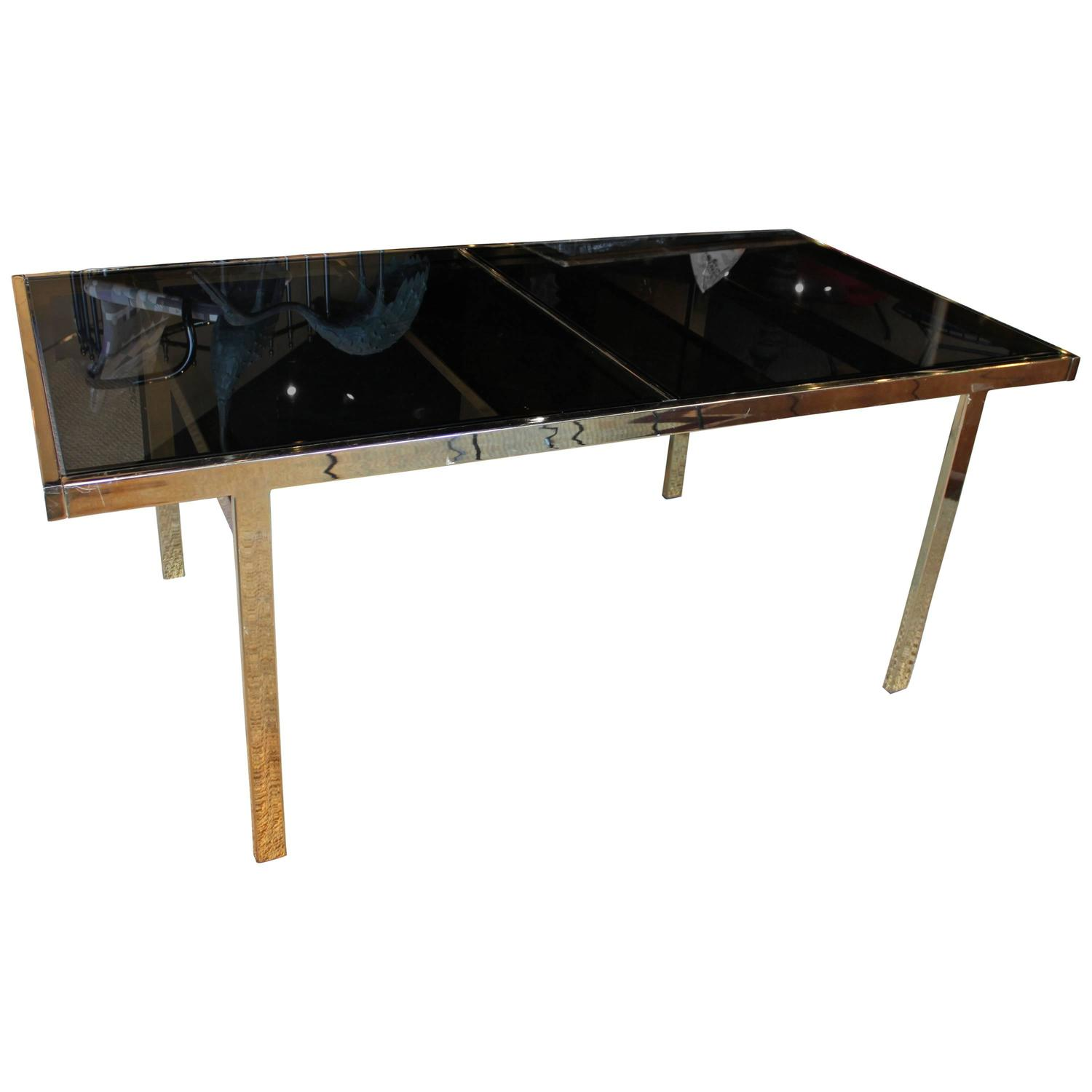Milo Baughman Brass And Smoke Glass Expandable Dining Table At 1stdibs