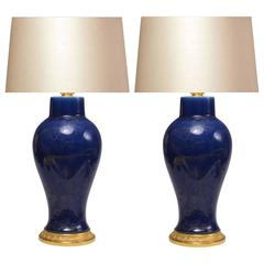 Pair of Dark Blue Porcelain Lamps