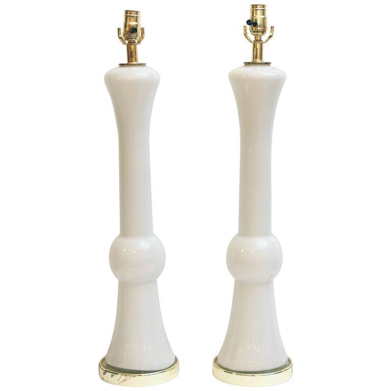 1950s Pair of Mid-Century Modern Murano White Opaline Glass Lamps
