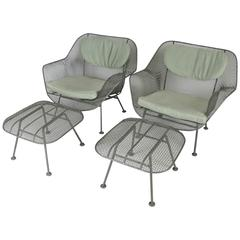 Pair of Vintage 1950s Lounge Chairs and Ottomans by Russell Woodard