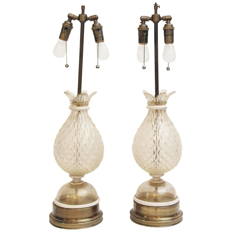 Pair of 1940s Murano Rolled White Glass Lamps with Gold Flecks and Brass Base For Sale