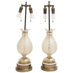 Pair of 1940s Murano Rolled White Glass Lamps with Gold Flecks and Brass Base