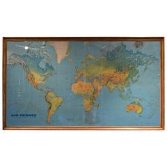 Large Vintage Air France Route Map in Gilded Frame, Signed Masso'