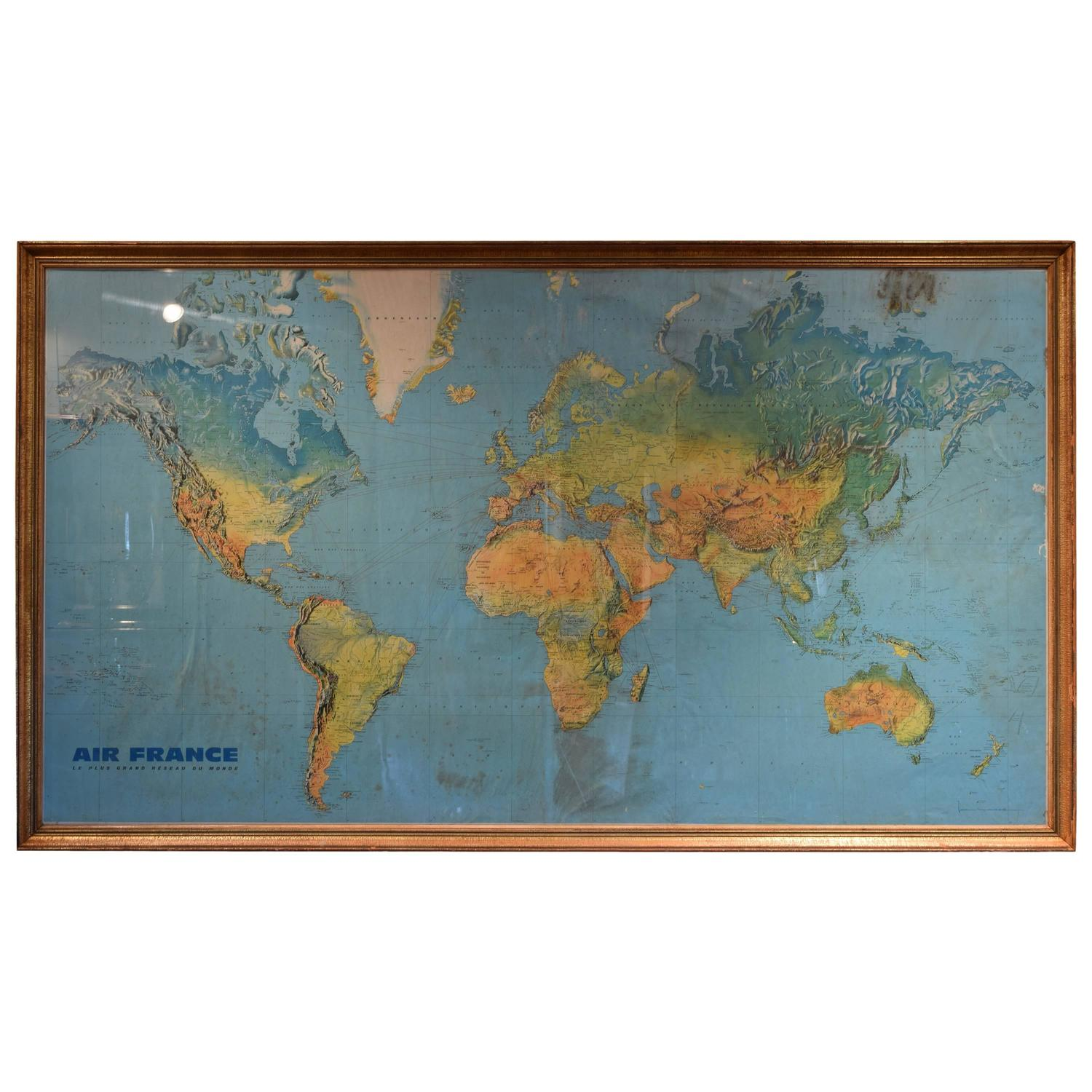 Large Vintage Air France Route Map in Gilded Frame, Signed ...