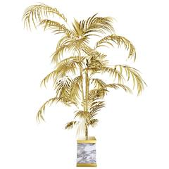 Floor Lamp Palms Tropical in Brass Polished Gold and Carrara Marble Base, 2016