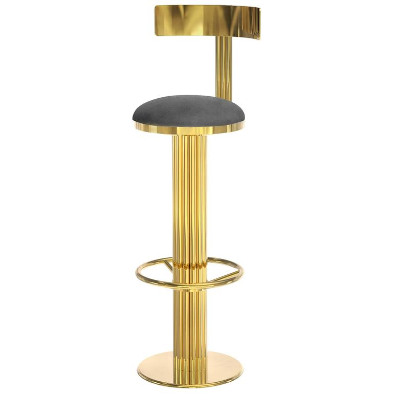 Bar Stool Casablanca in Golded Polished Brass and Genuine Leather, 2016