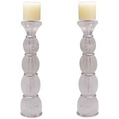 Pair of Contemporary Rock Crystal Quartz Candle Holders