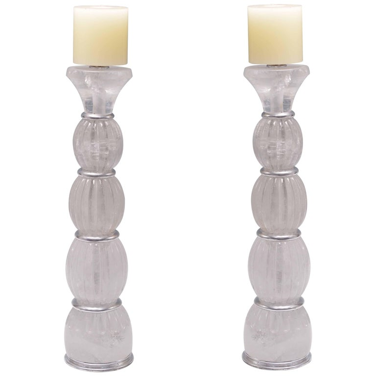 Pair of Contemporary Rock Crystal Quartz Candle Holders For Sale