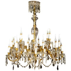 Antique French Louis XVI Style Gilt Bronze and Crystal 24-Arm Chandelier