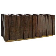 Sideboard Walnut Vintage in Glossy Walnut Root Veneer and Brass