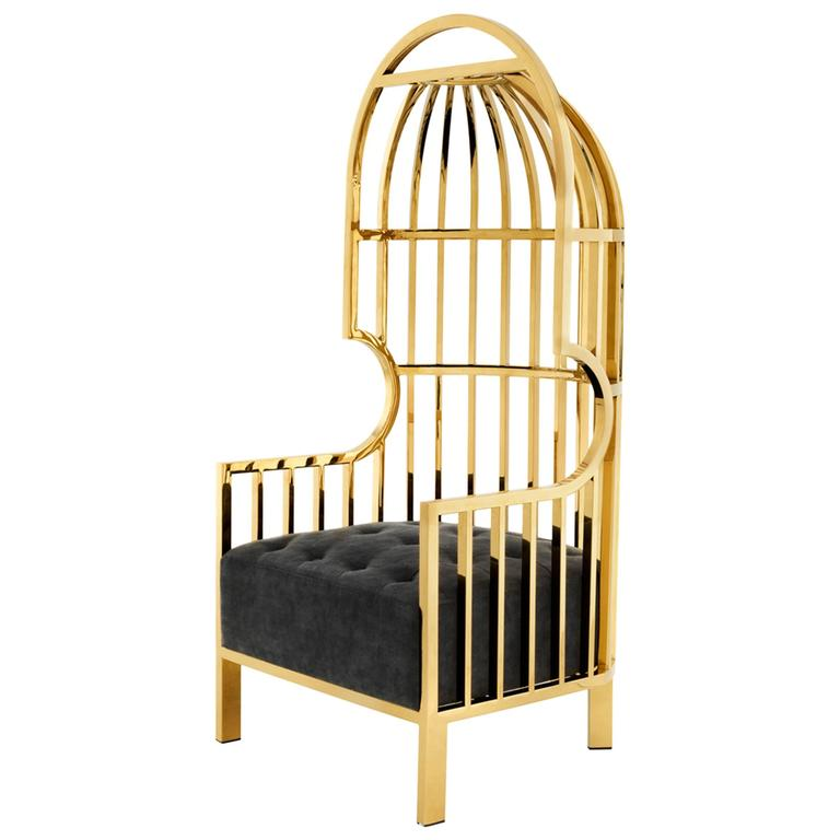 Cage Armchair In Gold Finish And Black Velvet Seat 2016