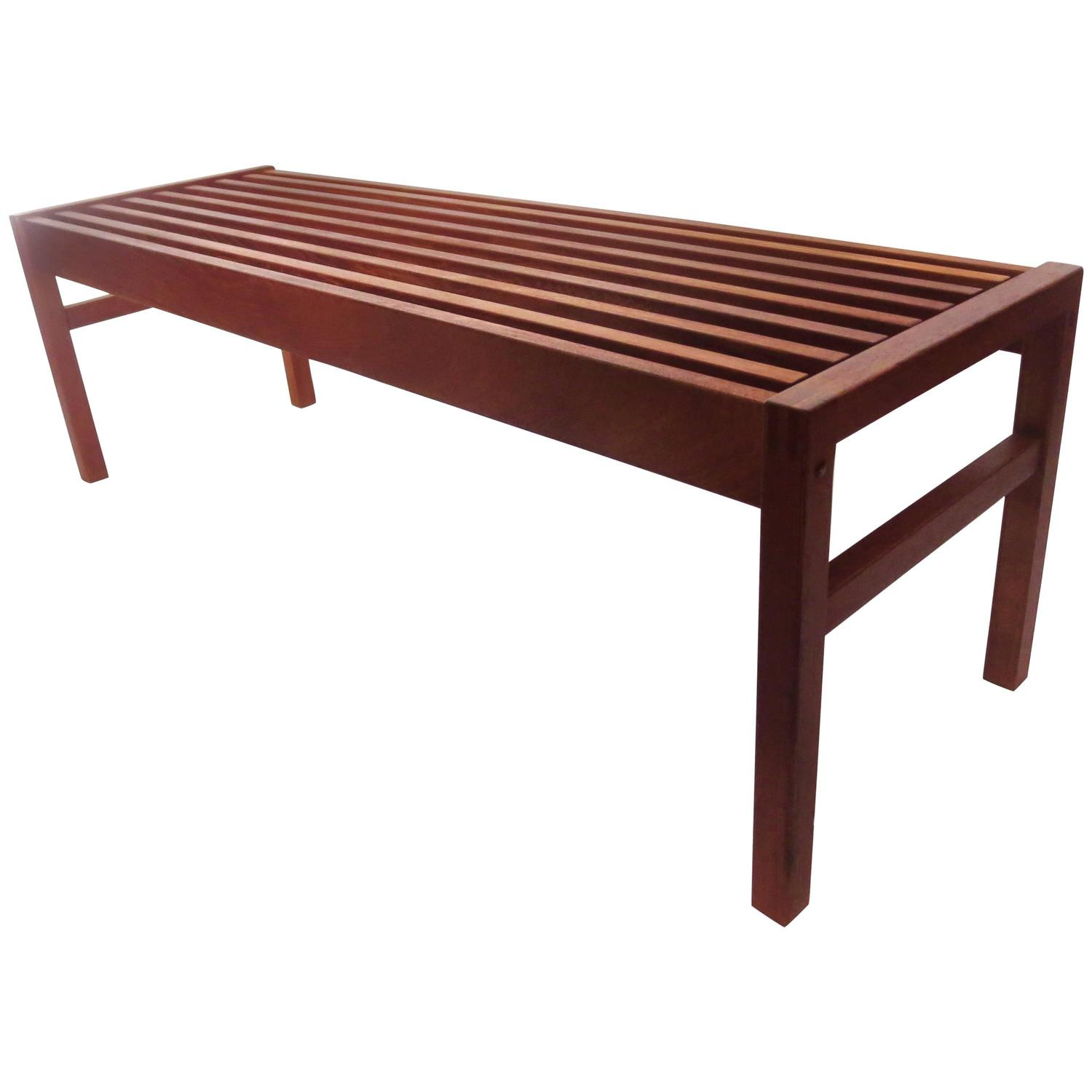 1950s solid teak danish modern bench coffee table at 1stdibs Solid teak coffee table