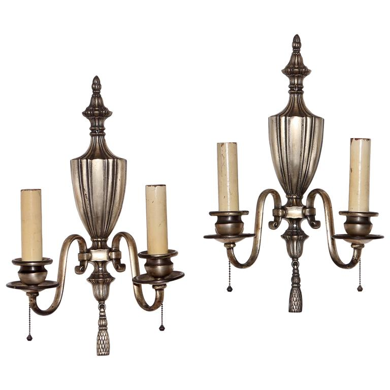 Wall Sconces Silver : Pair of Silver Plated Bronze Wall Sconces at 1stdibs