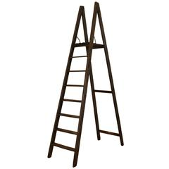 Sicilian Painted Pinewood Tall Ladder with Tray Shelf