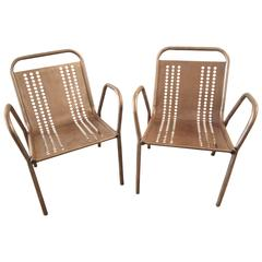 Pair of French Industrial Steel Lounge Chairs