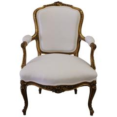 19th Century French Louis XV Gilt Fauteuil