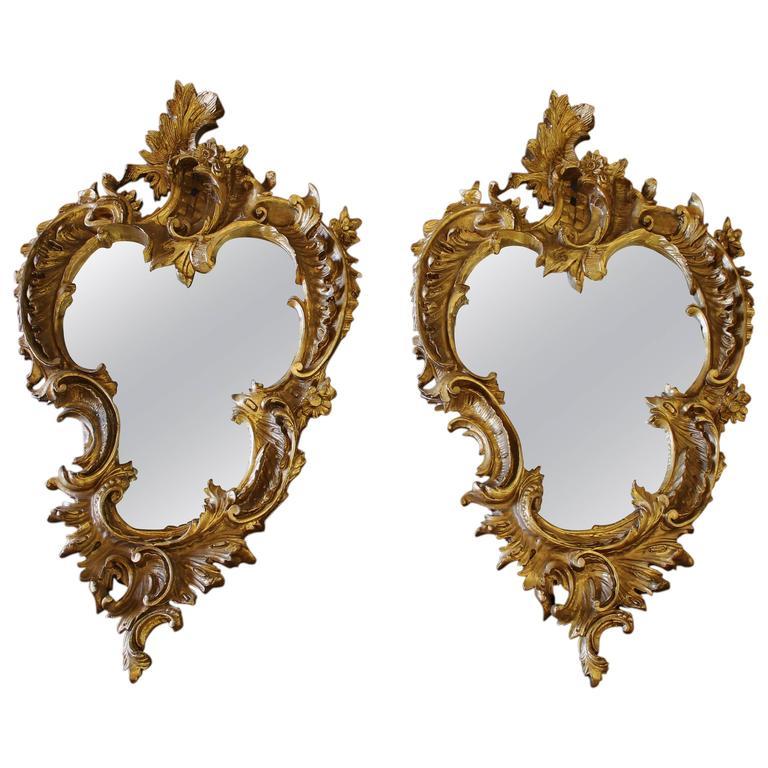 Pair of 19th Century Gilt Rococo Mirrors