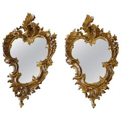 Pair of 19th Century Gilt Rococo Mirrors