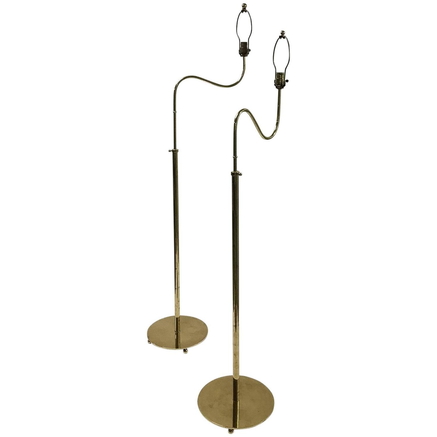 pair of adjustable height brass floor lamps swedish circa 1950s at. Black Bedroom Furniture Sets. Home Design Ideas