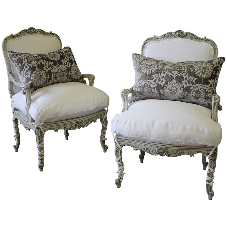 Elegant Pair Of French Rococo Linen Armchairs For Sale At 1stdibs