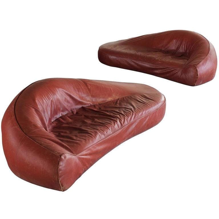 Exceptional Set of Two Organic Shaped Sofa's in Patinated Leather  For Sale