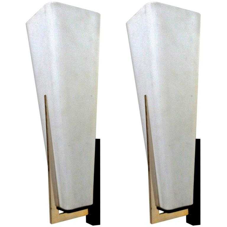Wall Sconces Long : Arlus Pair of 1950s Spectacular White Opaline Long Sconces at 1stdibs
