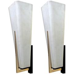 Arlus Pair of 1950s Spectacular White Opaline Long Sconces