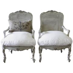 Elegant Pair of French Rococo Cane Armchairs